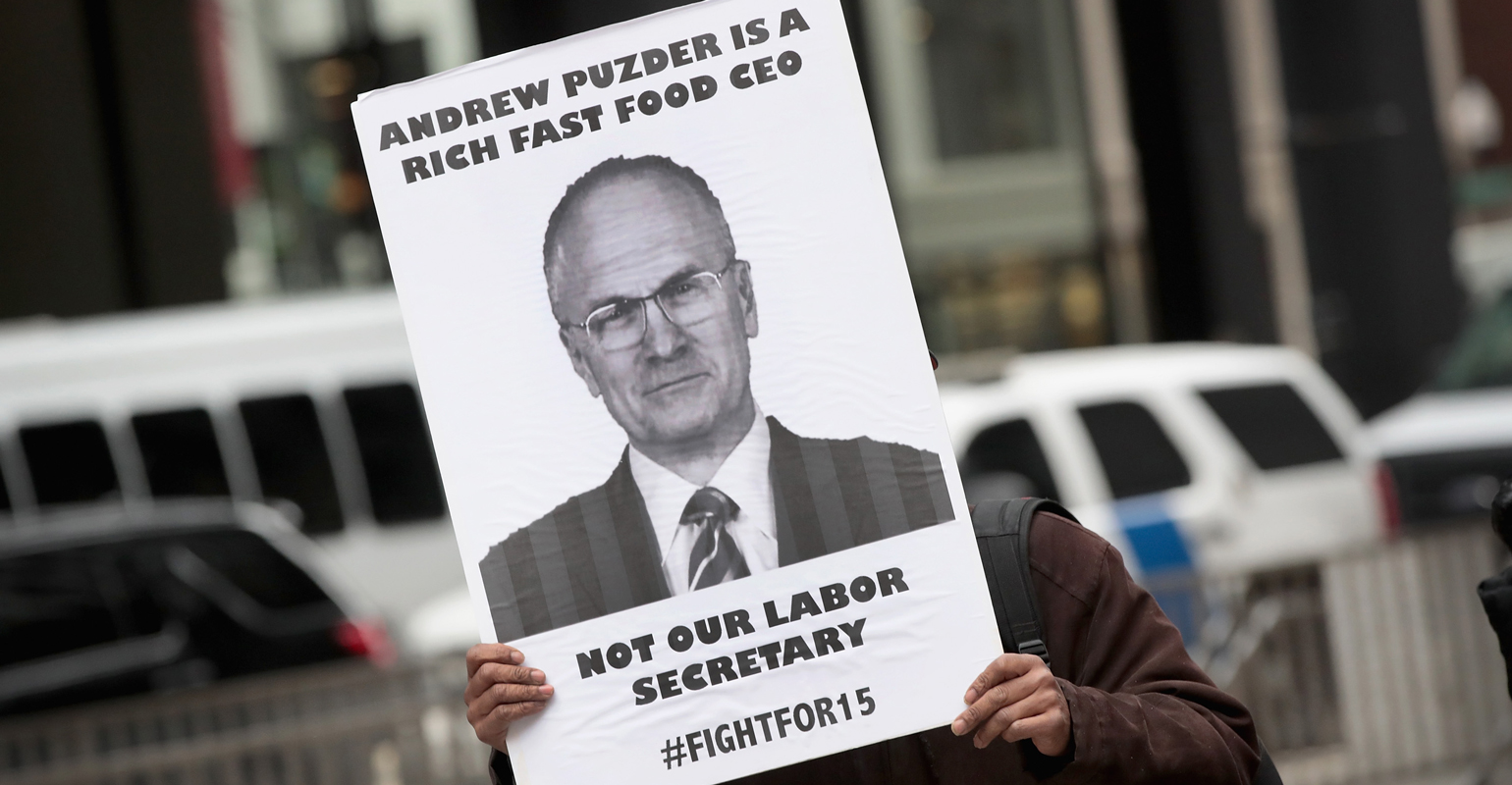 Labor groups amp up Andy Puzder protests | Nation\'s Restaurant News