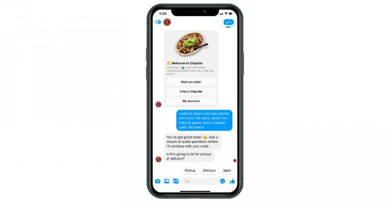 Screenshot of Chipotle Mexican Grill's Facebook Messenger ordering concierge bot Pepper