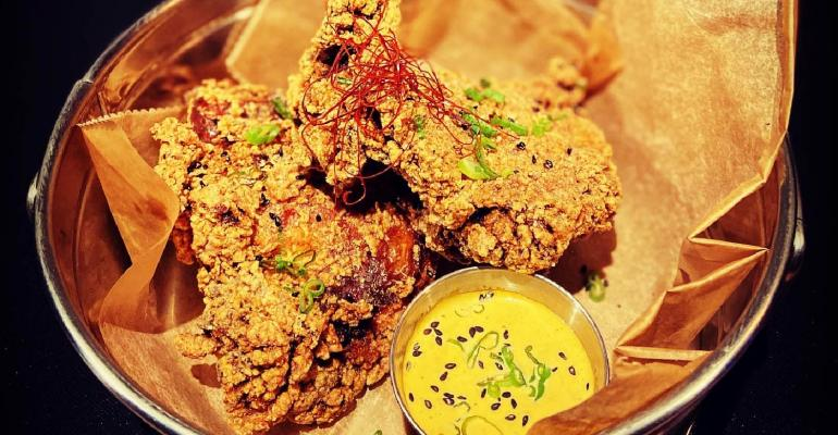 """Fried chicken thigh """"wings"""" at DDT in Park Slope, Brooklyn."""
