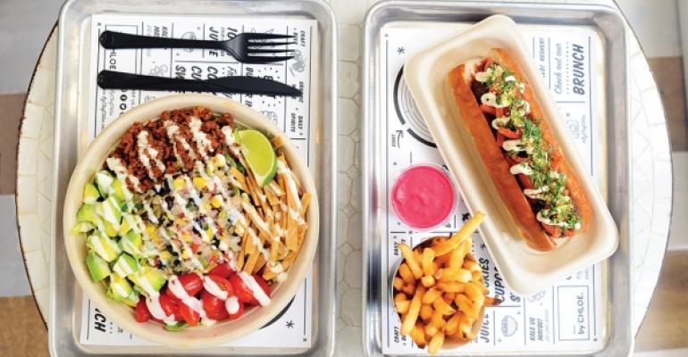 By Chloe a fastcasual vegan restaurant in New York City offers menu items such as a Quinoa Taco salad with seitan chorizo and Pesto Meatballs made of portobello mushrooms and vegetables with cashew ldquomozzarellardquo and almond ldquoParmesanrdquo on a potato roll