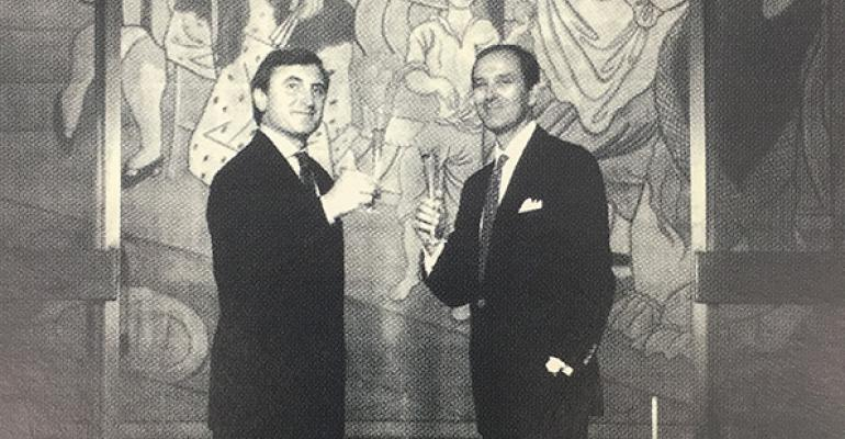 Four Seasons owners Julian Niccolilni and Alex Von Bidder in front of the Picasso curtain Tricorne