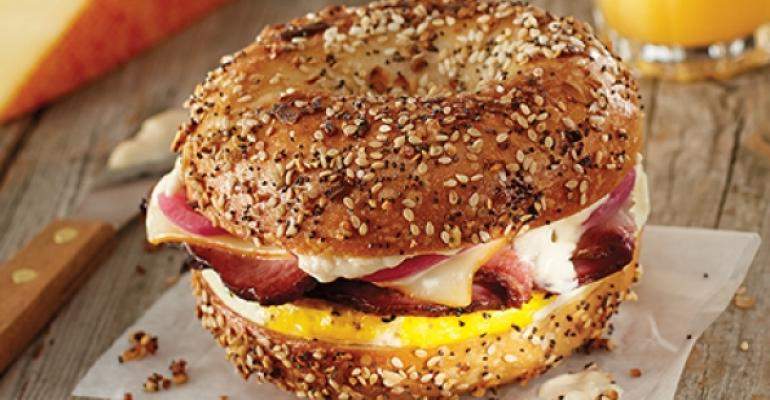 Brueggers Breakfast Brisket bagel