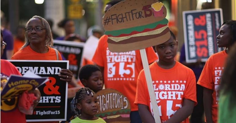 Protestors rally for national $15 minimum wage