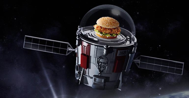 KFC Zinger sandwich in space