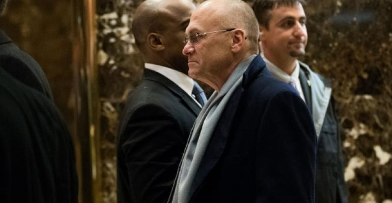 Andy Puzder leaves Trump Tower on Thursday Photo Drew AngererGetty Images