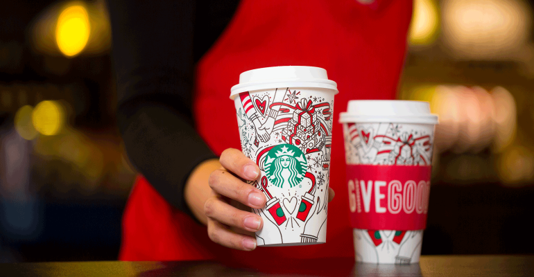 starbucks holiday color in cups