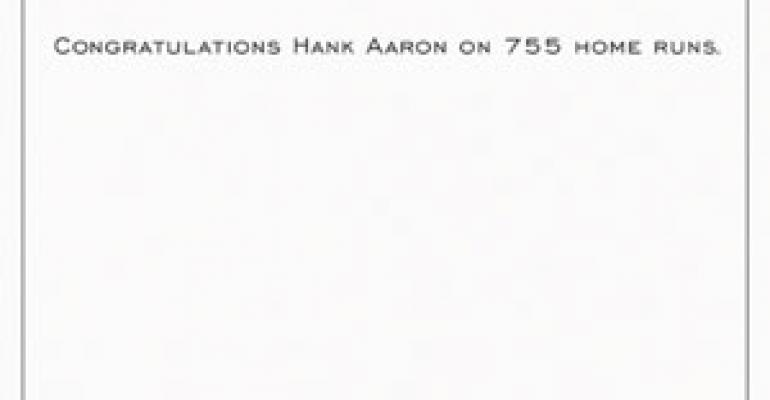 3-unit chain readies ad celebrating a home-run king named Aaron