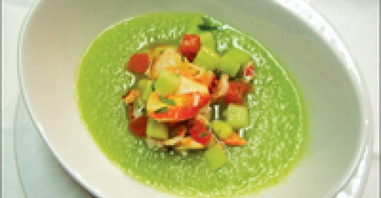Dish of the Week: Honeydew-cucumber gazpacho with Maine lobster