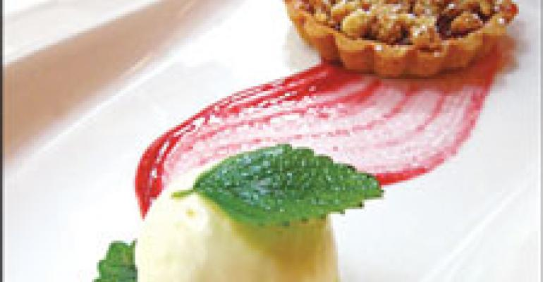 Dish of the Week: Tomato jam linzer tart with fromage blanc ice cream