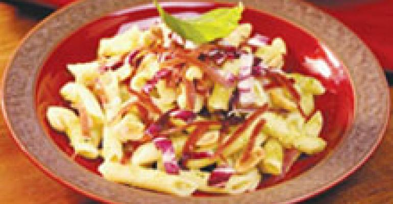 Dish of the Week: Penne with speck, radicchio and peanut pesto