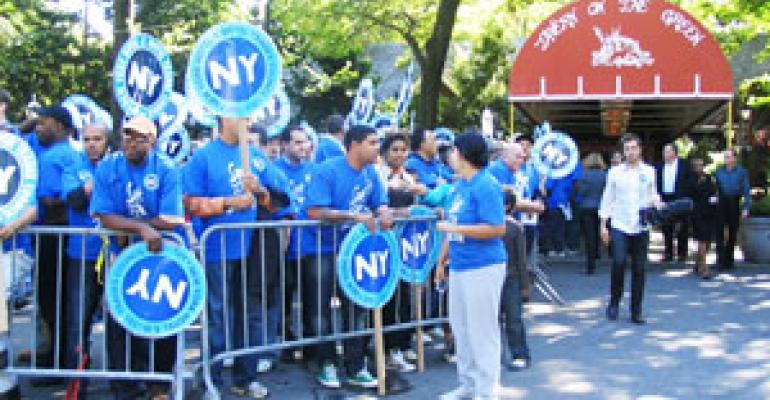 Workers rally at NYC's Tavern on the Green