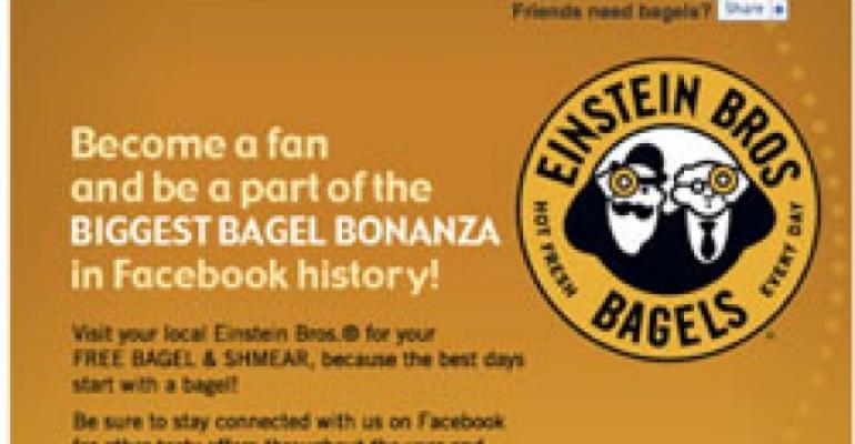 Einstein Bros. gives away bagels on Facebook