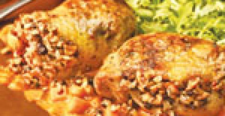 Peanut and flaxseed stuffed roasted chicken
