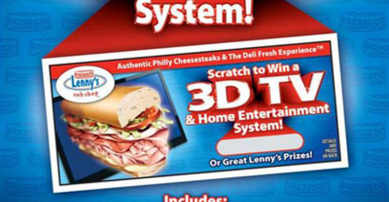 Lenny's grabs guests with 3-D TV giveaway