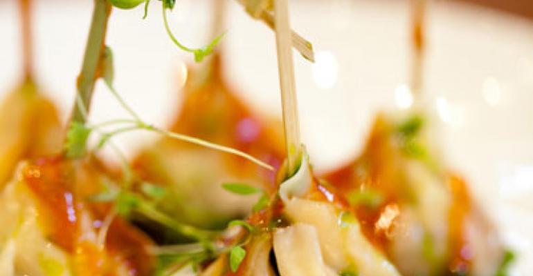 Chicken and Jack cheese dumplings, Buffalo style