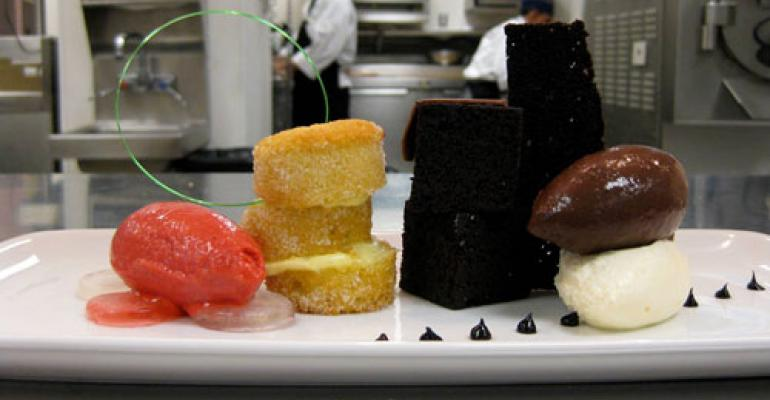 Duet of black and white cakes
