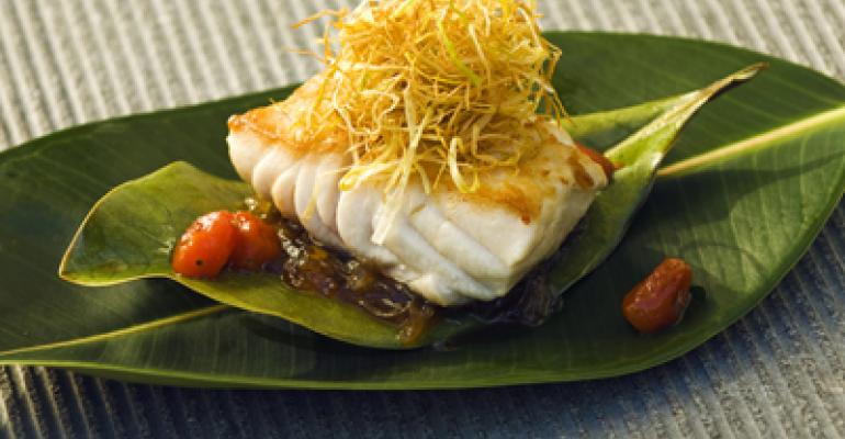 Magnolia-roasted sea bass