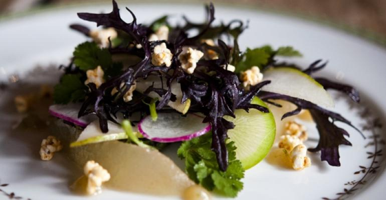 Pear salad with purple mustard, radishes and sorghum