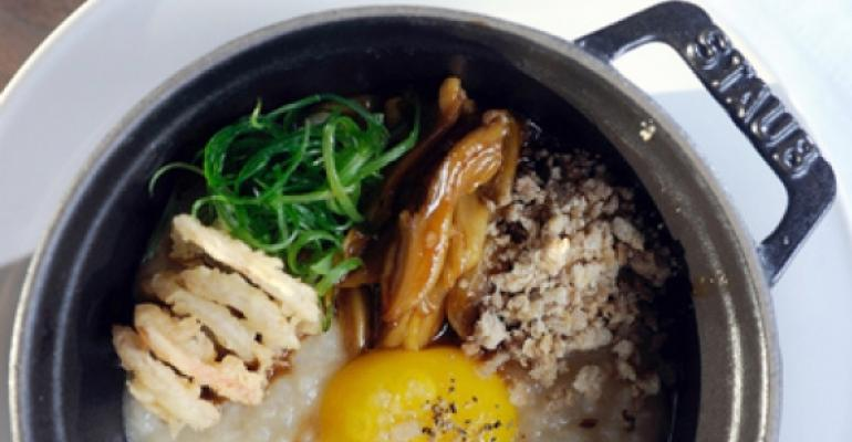 Rice porridge with confit duck tongue