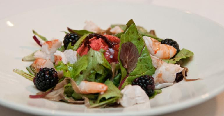 Shrimp salad with onion gelato