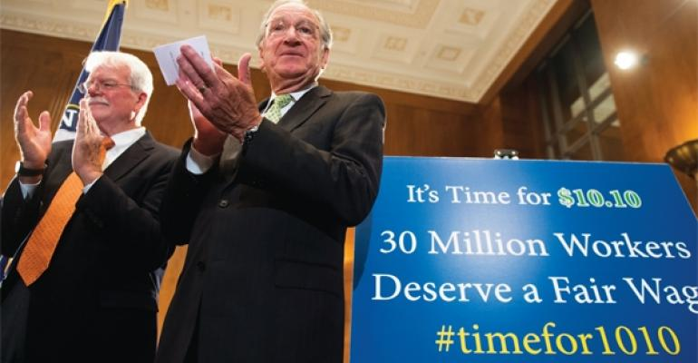 Rep George Miller DCalif left and Sen Tom Harkin DIowa recently introduced a bill that would raise the federal minimum wage to 1010 per hour by 2016 The current federal minimum wage rate is 725 per hour