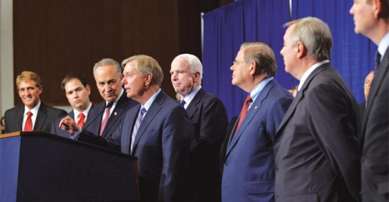 The immigration reform bill proposed by the Senates Gang of Eight pictured above is beinghailed by the industry and other supporters as tough but fair