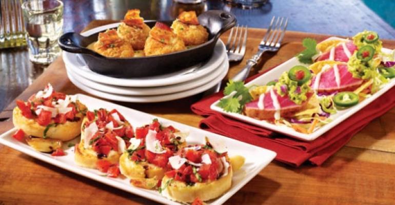 TGI Fridays Garlic Basil Bruschetta Bacon Mac Cheese Bites Ahi Tuna Crisps