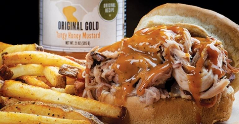 Old Carolina Barbecue Company pulled pork sandwich with Original Gold sauce