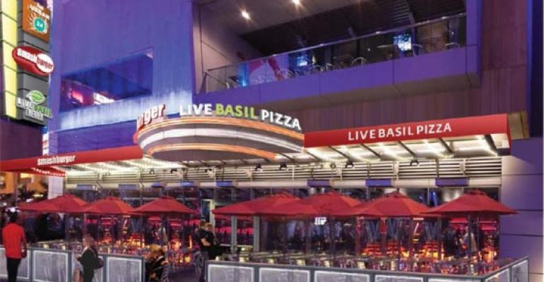 A rendering of Toms Urban 24 Smashburger and Live Basil Pizza at Los Angeles LA Live