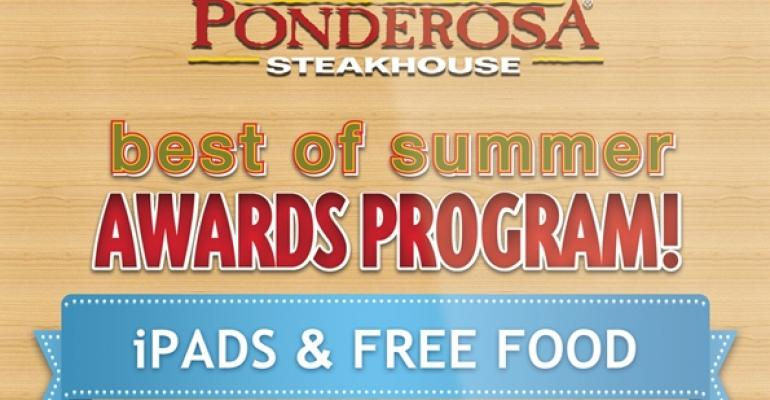 Ponderosa and Bonanzas smartphone and iPad app allows guests to scan a QR code on the merchandising materials to find out if they have a won prize