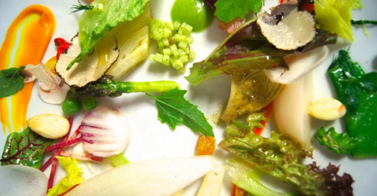 Spring mosaic at Dovetail a New York restaurant that offers vegetarian dishes as part of Meatless Monday