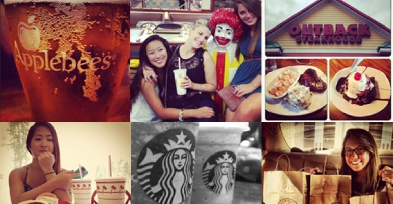 Applebees Outback and Starbucks were among the brands tracked on Instagram