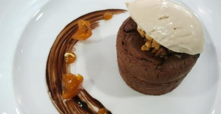 Chef Marraris chocolate moelleux with coffee and kumquat