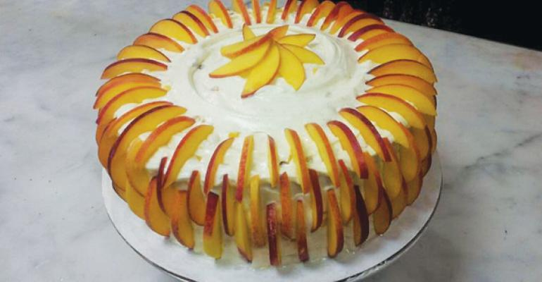 Clyde39s Restaurant Group pastry chef Ryan Westover plans to serve a white butter cake with peaches in June