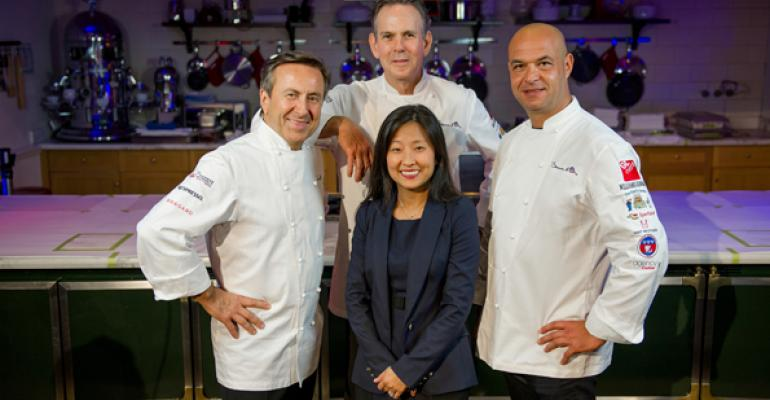 From left Chefs Daniel Boulud Thomas Keller and Jeacuterocircme Bocuse with ment39or BKB Foundation executive director Young Yun