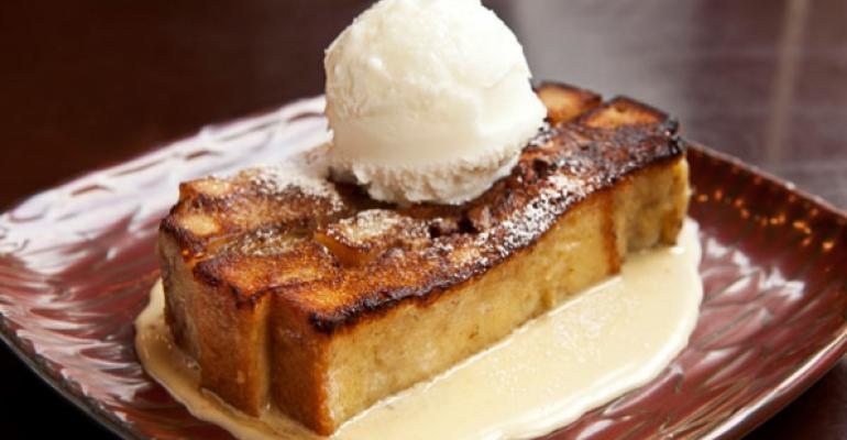 Banana Bread Pudding with Whiskey Sauce at Sazerac in Seattle