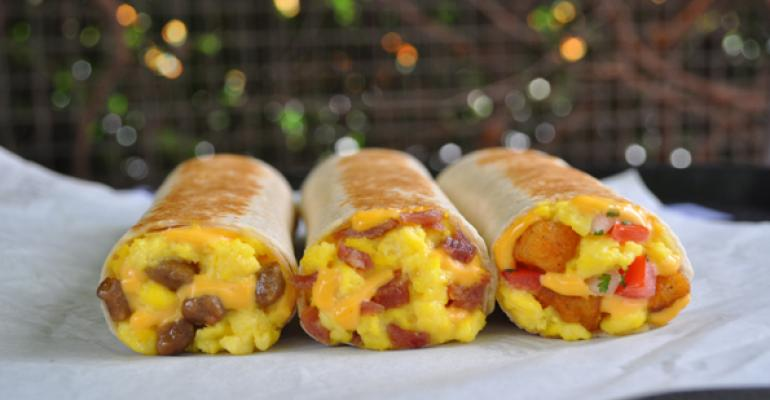 The chain39s Grilled Breakfast Burritos from left Sausage Bacon and Fiesta Potato