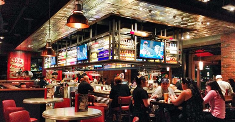 The bar at a newlook TGI Fridays in Addison Texas