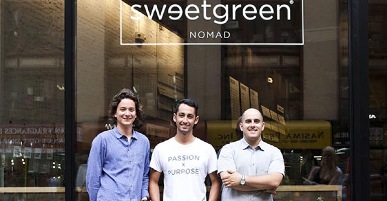 Founders of Sweetgreen outside first NYC location From left to right Nathaniel Ru Jonathan Neman and Nicolas Jammet