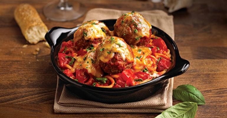 Baked bucatini with meatballs