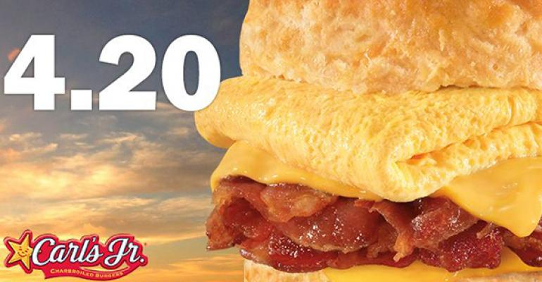Carl39s Jr touted its Mile High Bacon Egg amp Cheese Biscuit on Twitter