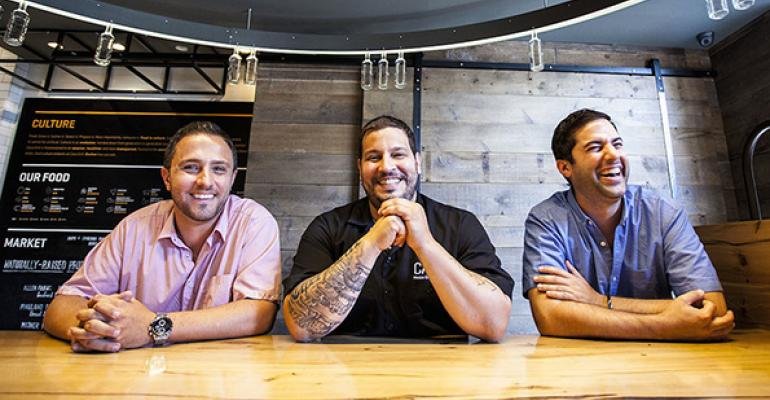 Cava Grill founders from lr Ike Grigoropoulos Chef Dimitri Moshovitis and Ted Xenohristos