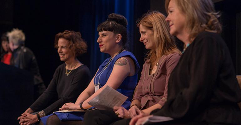 From left participating in a panel at the WCR conference Food amp Wine editor Dana Cowin Tasting Table editor Kat Kinsman New York Times food writer Melissa Clark and James Beard Foundation president Susan Ungaro