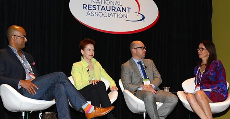 From left Santosh Jayaram of Table8 Ti Martin of Commanderrsquos Palace Peter Frost of Crainrsquos Chicago Business and moderator Mary Wagstaff of Wagstaff Worldwide