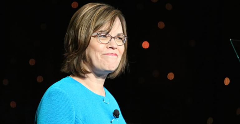 Cheryl Bachelder CEO of Popeyes Louisiana Kitchen Inc addresses attendees at MUFSO
