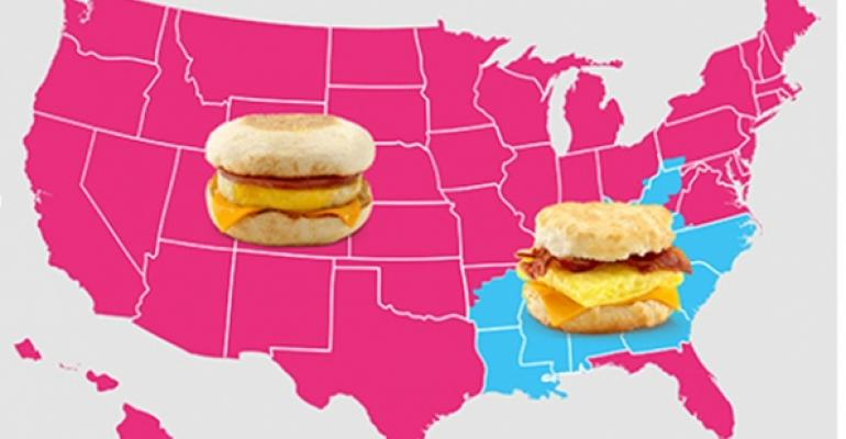 Map: McDonald's all-day breakfast pits muffins against biscuits