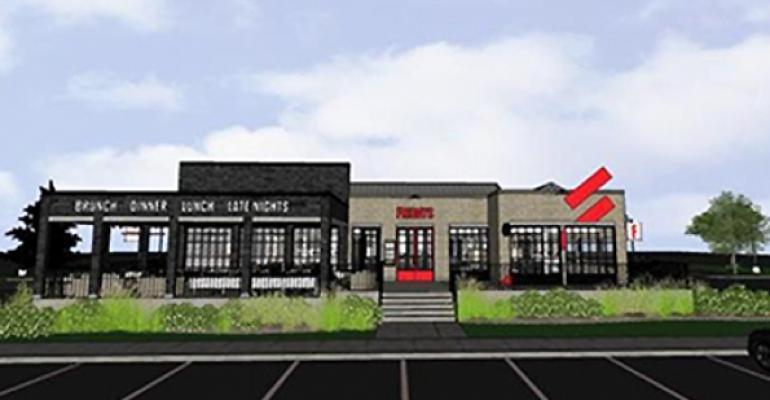 Exterior rendering of TGI Fridays new brand identity in Corpus Christi Texas