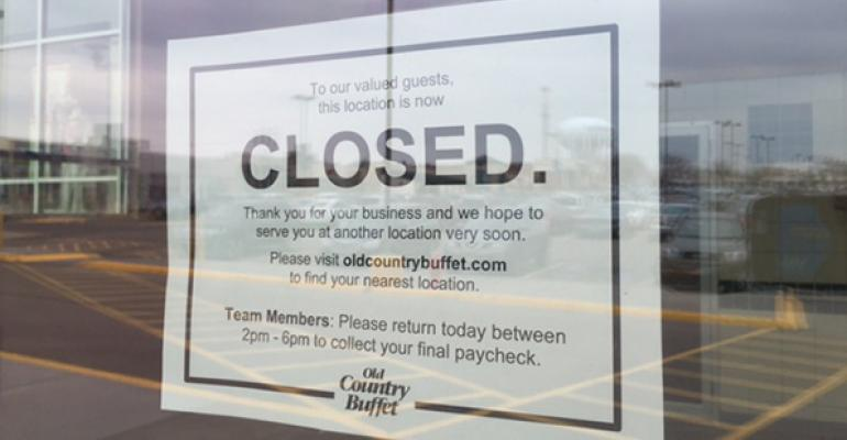 Old Country Buffet closed sign