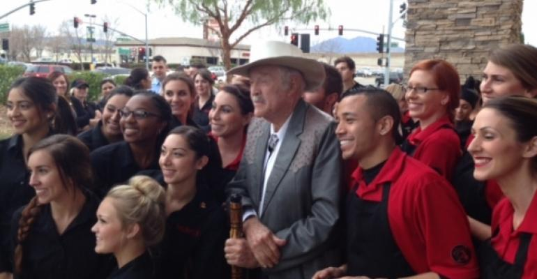 Stuart Anderson at the opening of a Black Angus restaurant in Brentwood Calif