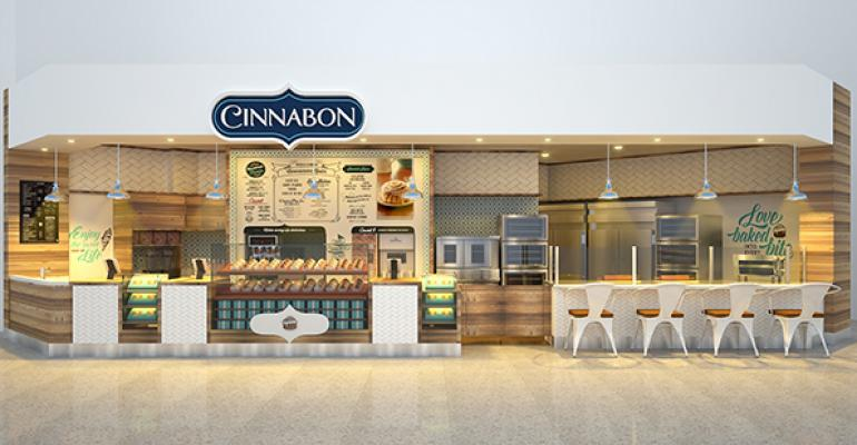 The new Cinnabon design has a French patisserie meets home kitchen inspiration